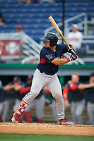 Lowell Spinners Elih Marrero (5) at bat during a NY-Penn League game against the Batavia Muckdogs on July 11, 2019 at Dwyer Stadium in Batavia, New York.  Batavia defeated Lowell 5-2.  (Mike Janes/Four Seam Images)