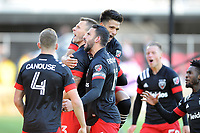 WASHINGTON, DC - MARCH 07: Frederic Brilliant #13 of D.C. United celebrates his score with teammates Steven Birnbaum #15 of D.C. United, Yamil Asad #11 of D.C. United, Russell Canouse #4 of D.C. United during a game between Inter Miami CF and D.C. United at Audi Field on March 07, 2020 in Washington, DC.