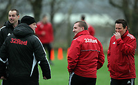 FAO SPORTS PICTURE DESK<br /> Pictured: Manager Brendan Rodgers (C) with coach Colin Pascoe (R). Thursday 12 January 2012<br /> Re: Premier League football side Swansea City FC training session at Llandarcy, south Wales.