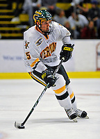 14 November 2008: University of Vermont Catamount defenseman Kevan Miller, a Sophomore from Los Angeles, CA, in action against the Northeastern University Huskies at Gutterson Fieldhouse in Burlington, Vermont. The Catamounts fell to the Huskies 5-3...Mandatory Photo Credit: Ed Wolfstein Photo