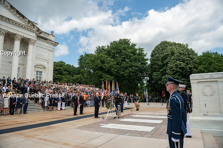 U.S. Vice President Mike Pence participates in an Armed Forces Full Honors Wreath-Laying Ceremony in observance of Memorial Day at Arlington National Cemetery, Arlington, Virginia, May 27, 2019. This was the 151st annual Memorial Day Observation at Arlington National Cemetery. (U.S. Army photo by Elizabeth Fraser / Arlington National Cemetery / released)