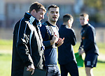 St Johnstone Training….  McDiarmid Park…26.10.18<br />Tony Watt pictured with Manager Tommy Wright during training this morning ahead of tomorrow's game against St Mirren.<br />Picture by Graeme Hart.<br />Copyright Perthshire Picture Agency<br />Tel: 01738 623350  Mobile: 07990 594431