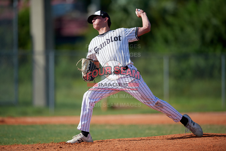 Brandon Golubski (12) during the WWBA World Championship at Terry Park on October 10, 2020 in Fort Myers, Florida.  Brandon Golubski, a resident of Tallmadge, Ohio who attends Tallmadge High School, is committed to Kent State.  (Mike Janes/Four Seam Images)