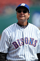 Buffalo Bisons manager Tim Teufel #11 before a game against the Syracuse Chiefs at Dunn Tire Park on April 7, 2011 in Buffalo, New York.  Syracuse defeated Buffalo 8-5.  Photo By Mike Janes/Four Seam Images