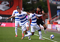 17th October 2020; Vitality Stadium, Bournemouth, Dorset, England; English Football League Championship Football, Bournemouth Athletic versus Queens Park Rangers; Dominic Solanke of Bournemouth competes for the ball with Dominic Ball and Osman Kakay of Queens Park Rangers