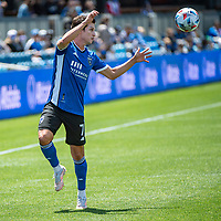 SAN JOSE, CA - APRIL 24: Carlos Fierro #7 of the San Jose Earthquakes jumps to head the ball during a game between FC Dallas and San Jose Earthquakes at PayPal Park on April 24, 2021 in San Jose, California.