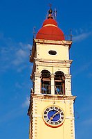 Bell tower of the Greek Orthodox Church of St. Spyridon, the patron Saint of Corfu . Greek Ionian Islands