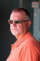 Netherlands National Team guest, Hall of Fame pitcher Bert Blyleven, in the dugout before a spring exhibition game against the Pittsburgh Pirates at Al Lang Field on March 12, 2012 in St. Petersburg, Florida.  (Mike Janes/Four Seam Images)