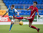 St Johnstone v Aberdeen…01.07.17  McDiarmid Park     Pre-Season Friendly <br />Greg Hurst is closed down by Danny Harvie<br />Picture by Graeme Hart.<br />Copyright Perthshire Picture Agency<br />Tel: 01738 623350  Mobile: 07990 594431