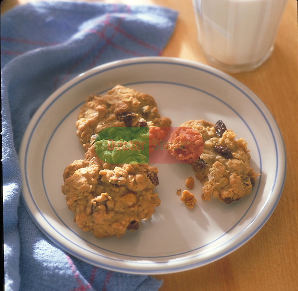 plate of oatmeal cookies with milk