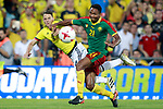 Colombia's Santiago Arias (l) and Camerun's Owona during international friendly match. June 13,2017.(ALTERPHOTOS/Acero)