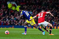 Sunday 05 January 2014<br /> Pictured:Wilfried Bony makes a run past Tom Cleverley  <br /> Re: Manchester Utd FC v Swansea City FA cup third round match at Old Trafford, Manchester