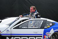 Nov. 12, 2011; Pomona, CA, USA; NHRA pro stock driver Allen Johnson during qualifying at the Auto Club Finals at Auto Club Raceway at Pomona. Mandatory Credit: Mark J. Rebilas-.