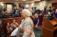 ANDREW SHURTLEFF/THE DAILY PROGRESS <br /> Susan Bro, mother of Heather Heyer who was killed in 2017 during a white supremacist rally, exits a press conference after the sentencing of James Alex Fields Jr. in federal court on Friday. Fields was sentenced to life in prison for his role in a car attack during a white supremacist rally in 2017.