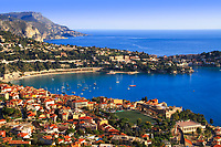 Villefranche-sur-Mer city and harbor aerial view, with the beautiful, blue Mediterranean Sea coastline, on the French Riviera (Côte d'Azur), France