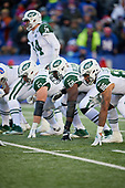 New York Jets guard Spencer Long (61), tackle Kelvin Beachum (68), and tight end Jordan Leggett (86) during an NFL football game against the Buffalo Bills, Sunday, December 9, 2018, in Orchard Park, N.Y.  (Mike Janes Photography)