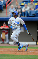 Daytona Cubs outfielder Jorge Soler #27 during a game against the Brevard County Manatees at Spacecoast Stadium on April 5, 2013 in Melbourne, Florida.  Daytona defeated Brevard County 8-0.  (Mike Janes/Four Seam Images)
