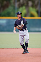 GCL Yankees East second baseman Matt McGarry (10) throws to first base during the second game of a doubleheader against the GCL Pirates on July 31, 2018 at Pirate City Complex in Bradenton, Florida.  GCL Pirates defeated GCL Yankees East 12-4.  (Mike Janes/Four Seam Images)