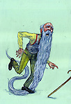 Illustrative image of senior man with long beard about to fall representing old age issues