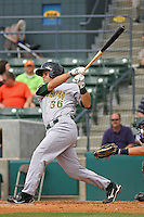 Catcher Devin Mesoraco #36 of the Lynchburg Hillcats at bat during a game against the Myrtle Beach Pelicans at BB&T Coastal Field on May 26, 2010 in Myrtle Beach. Photo by Robert Gurganus/Four Seam Images.