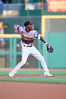 Rochester Red Wings second baseman Nick Gordon (1) throws to first base during a game against the Lehigh Valley IronPigs on June 29, 2018 at Frontier Field in Rochester, New York.  Lehigh Valley defeated Rochester 2-1.  (Mike Janes/Four Seam Images)