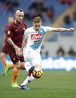 Napoli's Marko Rog, right, is chased by Roma's Radja Nainggolan during the Serie A soccer match between Roma and Napoli at the Olympic stadium, 4 March 2017.<br /> UPDATE IMAGES PRESS/Isabella Bonotto