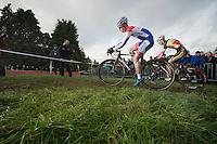 Dutch Champion Lars van der Haar (NLD) shadowed by Belgian Champion Klaas Vantornout (BEL)<br /> <br /> Vlaamse Druivencross Overijse 2013
