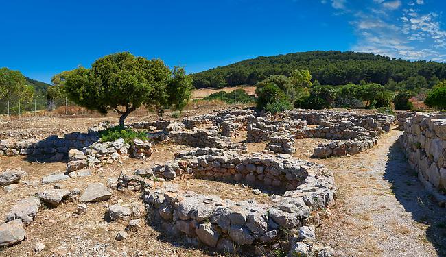 Pictures and image of the exterior ruins of Palmavera round prehistoric Nuragic village archaeological site, middle Bronze age (1500 BC), Alghero, Sardinia.