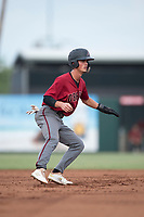 AZL Diamondbacks second baseman Blaze Alexander (3) takes a lead off second base during the completion of a suspended Arizona League game against the AZL Angels at Tempe Diablo Stadium on July 16, 2018 in Tempe, Arizona. The game was a continuation of the July 11, 2018 contest that was suspended by rain in the middle of the eighth inning. The AZL Diamondbacks defeated the AZL Angels 12-8. (Zachary Lucy/Four Seam Images)
