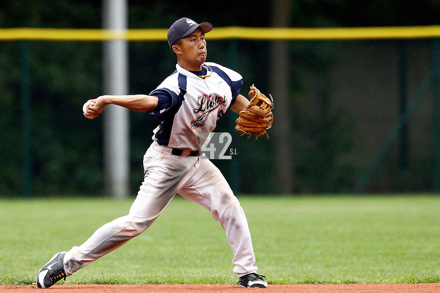 16 July 2011: Daisuke Dice Ikenaga throws the ball to second during the 2011 Challenge de France match won 5-4 by the Savigny Lions over the Senart Templiers, at Stade Pierre Rolland, in Rouen, France.