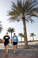 Photo: Richard Lane/Richard Lane Photography. London Wasps in Abu Dhabi for their LV= Cup game against Harlequins on 30th January 2011. 30/01/2011. Wasps' Ben Broster and Trevor Woodman carry out final preparations for the game during the walk though at the Emirates Palace Hotel.
