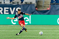 FOXBOROUGH, MA - AUGUST 29: Matt Polster #8 of New England Revolution passes the ball during a game between New York Red Bulls and New England Revolution at Gillette Stadium on August 29, 2020 in Foxborough, Massachusetts.