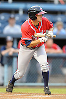 Rome Braves center fielder Tony Mueller #15 squares to bunt during game three of the South Atlantic League, Southern Division playoffs against the Asheville Tourists at McCormick Field on September 8, 2012 in Asheville, North Carolina . The Tourists defeated the Braves 4-3. (Tony Farlow/Four Seam Images).