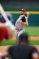 Syracuse Chiefs starting pitcher Lucas Giolito (27) during a game against the Buffalo Bisons on July 31, 2016 at Coca-Cola Field in Buffalo, New York.  Buffalo defeated Syracuse 6-5.  (Mike Janes/Four Seam Images)