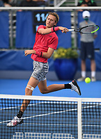 DELRAY BEACH, FLORIDA - JANUARY 13: Sebastian Korda Vs Hubert Hurkacz during the Finals of the Delray Beach Open at Delray Beach Tennis Center on January 13, 2021 in Delray Beach, Florida.. Credit: mpi04/MediaPunch