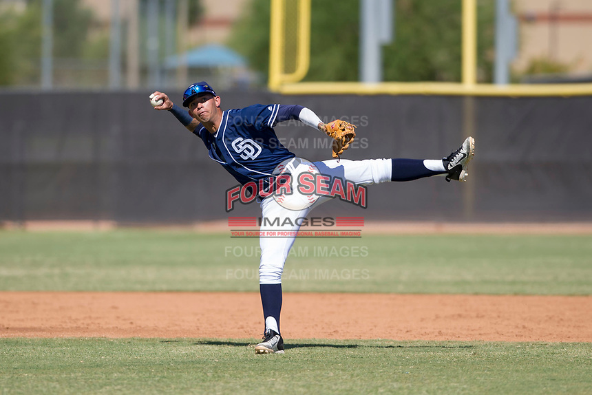 San Diego Padres shortstop Gabriel Arias (65) prepares to make a throw to first base during an Instructional League game against the Milwaukee Brewers on September 27, 2017 at Peoria Sports Complex in Peoria, Arizona. (Zachary Lucy/Four Seam Images)