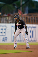Jupiter Hammerheads Monte Harrison (3) leads off second base during a game against the Bradenton Marauders on June 26, 2021 at LECOM Park in Bradenton, Florida.  (Mike Janes/Four Seam Images)