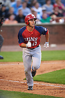 Hagerstown Suns outfielder Jeff Gardner (13) runs to first during a game against the Lexington Legends on May 22, 2015 at Whitaker Bank Ballpark in Lexington, Kentucky.  Lexington defeated Hagerstown 5-1.  (Mike Janes/Four Seam Images)