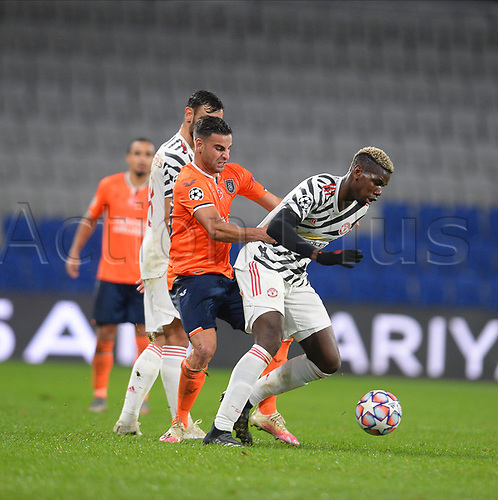4th November 2020, Basaksehir Fatih Stadium, Istanbul, Turkey; UEFA Champions League football,  Basaksehir versus manchester United;  Deniz Turuc of Basaksehir and Paul Pogba of Manchester United