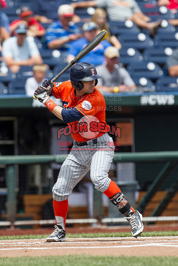 Cal State Fullerton outfielder Dustin Vaught (31) at bat during the NCAA College baseball World Series against the Vanderbilt Commodores Titans on June 15, 2015 at TD Ameritrade Park in Omaha, Nebraska. Vanderbilt beat Cal State Fullerton 4-3. (Andrew Woolley/Four Seam Images)