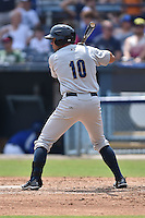 Charleston RiverDogs left fielder Michael O'Neill #10 awaits a pitch during a game against the Asheville Tourists at McCormick Field July 26, 2014 in Asheville, North Carolina. The Tourists defeated the RiverDogs 9-6. (Tony Farlow/Four Seam Images)