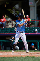 Erie SeaWolves Chace Numata (25) at bat during an Eastern League game against the Akron RubberDucks on June 2, 2019 at UPMC Park in Erie, Pennsylvania.  Erie defeated Akron 8-5 in eleven innings in the second game of a doubleheader.  (Mike Janes/Four Seam Images)