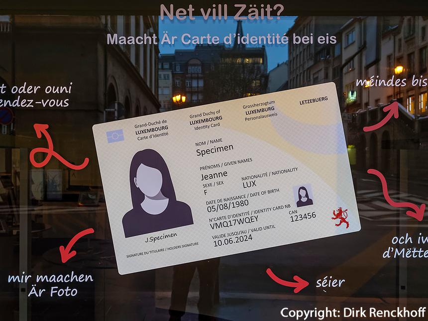 Personalausweis-Service, Luxemburg-City, Luxemburg, Europa<br /> ID Card service, Luxembourg, Luxembourg City, Europe
