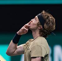 Rotterdam, The Netherlands, 5 march  2021, ABNAMRO World Tennis Tournament, Ahoy,  Quarter final: Andrey Rublev (RUS).<br /> Photo: www.tennisimages.com/henkkoster