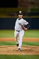 Scranton/Wilkes-Barre RailRiders relief pitcher Tyler Jones (25) during a game against the Pawtucket Red Sox on May 15, 2017 at PNC Field in Moosic, Pennsylvania.  Scranton defeated Pawtucket 8-4.  (Mike Janes/Four Seam Images)