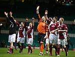 Arbroath keeper Scott Morrison leads the celebrations to the away fans