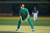 Eric Gilgenbach (15) of the Notre Dame Fighting Irish takes his lead off of first base against the Wake Forest Demon Deacons at David F. Couch Ballpark on March 10, 2019 in  Winston-Salem, North Carolina. The Fighting Irish defeated the Demon Deacons 8-7 in 10 innings in game two of a double-header. (Brian Westerholt/Four Seam Images)