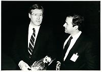 Le ministre des finances du canada Michael Wilson  apres son discours a la tribune du Cercle canadien de Montreal, le 5 juin 1985.<br /> <br /> PHOTO : Agence Quebec Presse