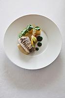 Europe/France/Pays de la Loire/44/Loire Atlantique/Nantes:   Sandre de Loire en écaille de cèpes, pommes bouchon et jus de cresson, Recette de Jean-Yves Guého   du restaurant: L'Atlantide