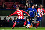 Peter Ankersen (C) of FC Copenhague fights for the ball with Sergio Gonzalez Testan (L) and Angel Correa of Atletico de Madrid during the UEFA Europa League 2017-18 Round of 32 (2nd leg) match between Atletico de Madrid and FC Copenhague at Wanda Metropolitano  on February 22 2018 in Madrid, Spain. Photo by Diego Souto / Power Sport Images
